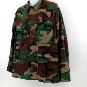Army US Military Camo Shirt Jacket Large